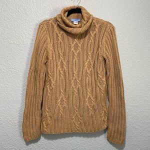 White + Warren Tan Cable Knit Pull Over Turtleneck